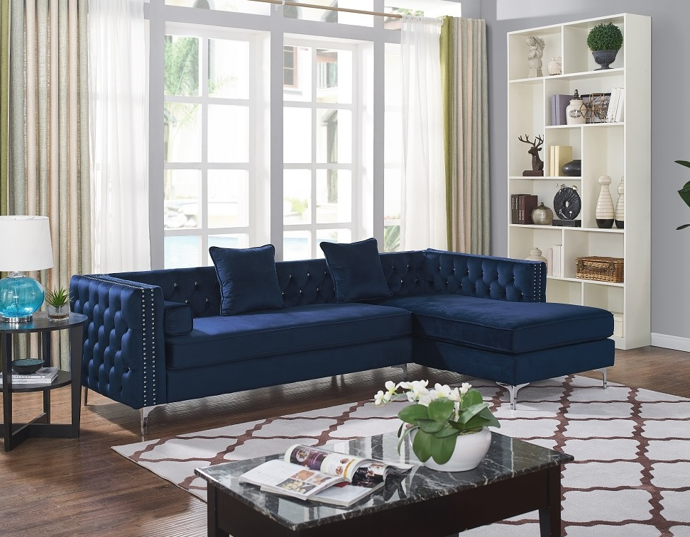 Divano Collection Glam Dark Blue Velvet Fabric Sofa Sectional w ...