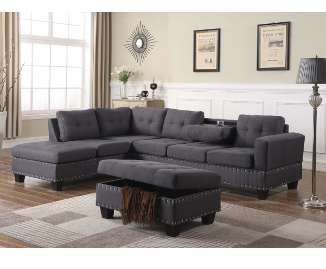 Swell Nero Reversible Sectional With Storage Ottoman Gray Fabric 80974Be Gamerscity Chair Design For Home Gamerscityorg