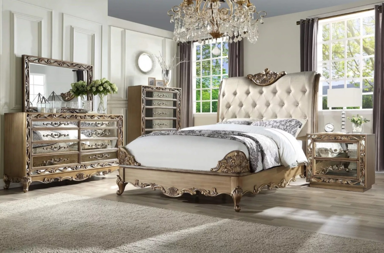 orianne collection bedroom set gold wood and mirrored