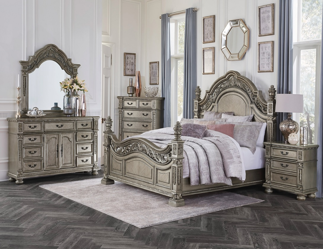 Catalonia Collection Bedroom Set Platinum Gold Finish 1824he