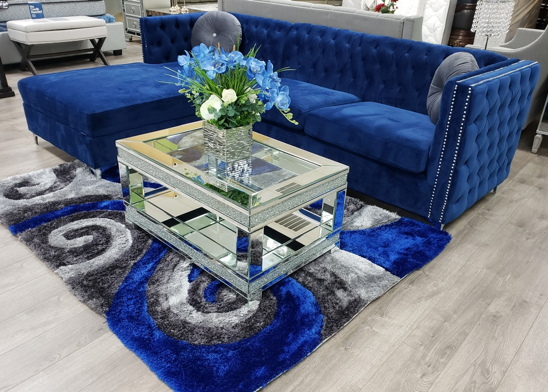 Sullivan Navy Blue Velvet Sectional 55490 Casye Furniture